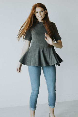 The Tawni Peplum in Gray