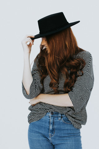 The Ira Striped Top in Black