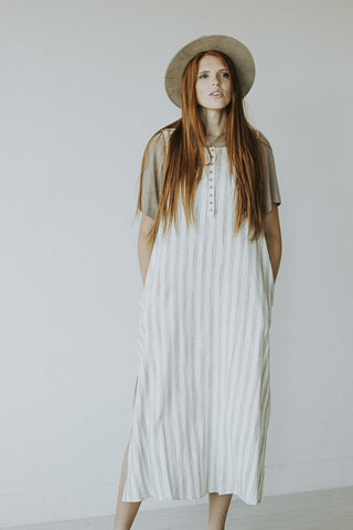 The Village Linen Dress in Light Olive