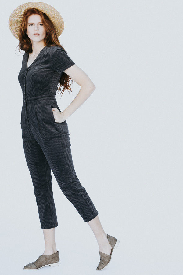 The Mimi Corduroy Jumpsuit in Charcoal