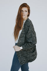 The Crackled Cardigan in Black