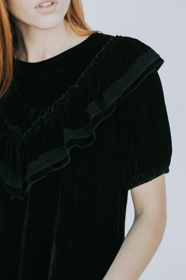 The Miss Velvet Ruffle Top