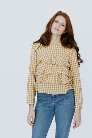 The Gingham Ruffle Top in Mustard