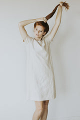 The Minoa Fray Dress in Beige