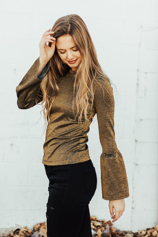 The Joy Bell Sleeve Top in Gold