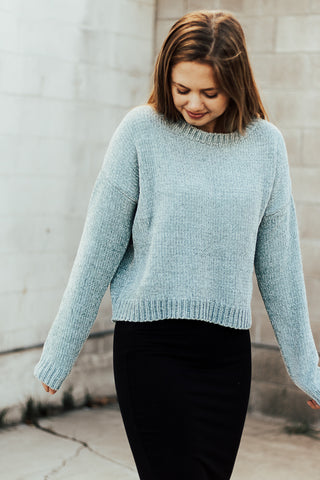 The Aspyn Cropped Sweater in Blue Mist