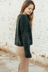 The Aspyn Cropped Sweater in Forest Green