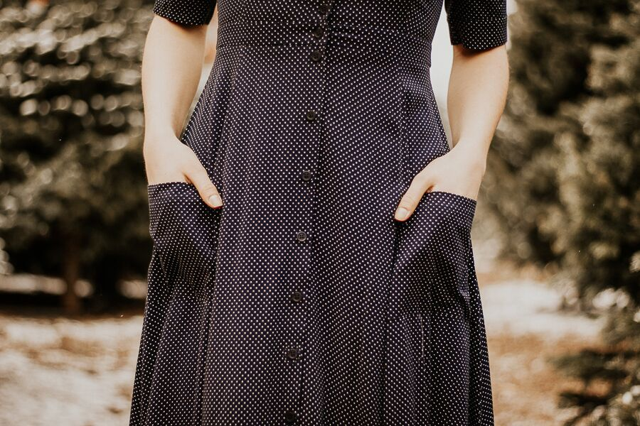 The Penelope Polka Midi Dress in Navy