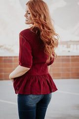 The Stella Lace Peplum Top in Burgundy