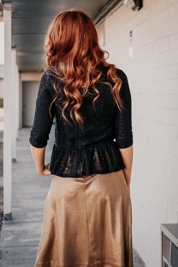 The Downtown Peplum Top in Black