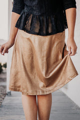 The Retro Shine Midi Skirt in New Gold