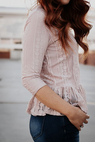 The Downtown Peplum Top in Dusty Pink