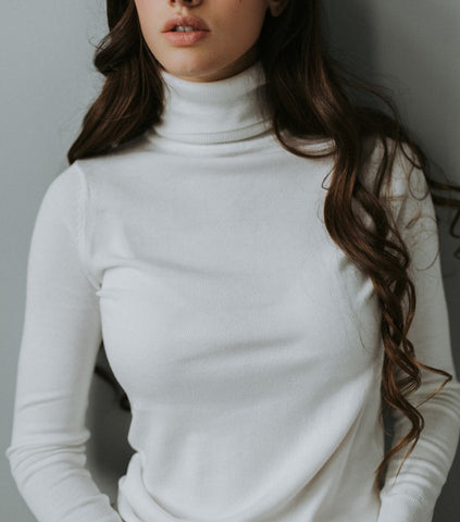 White Turtleneck Top