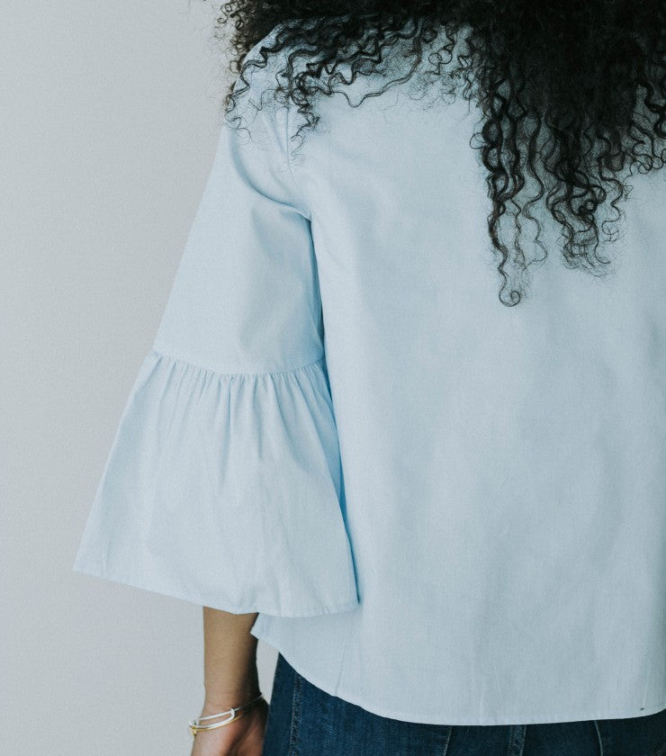 The Blossom Bell Top in Baby Blue