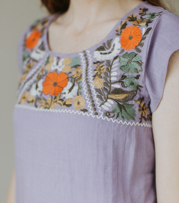 The Flora Embroidered Blouse in Purple