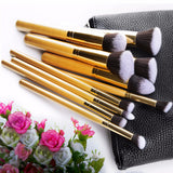 10 Pcs. Makeup Brush Set-Gold