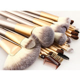 24 Pcs. Professional Cosmetics Foundation Makeup Brush Set - Beige - marketplacefinds  - 1