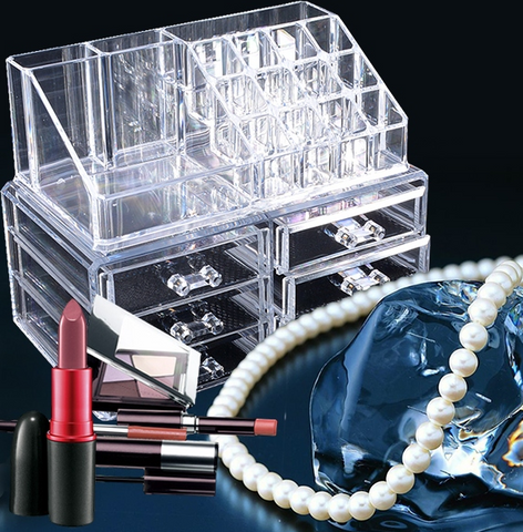 Professional Makeup Organizer Clear Acrylic Drawers Grids Display Box Storage Cosmetics - marketplacefinds  - 1