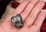 Man's Unique Stainless Steel Titanium Animal Pit Bull Dog Ring Jewelry - marketplacefinds  - 3