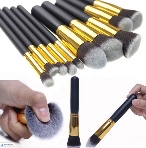 10Pcs Professional  Makeup Brushes Set Tool Cosmetic Eyebrow Foundation  Powder Blush Brush - marketplacefinds  - 1