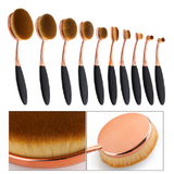 10 Pcs Oval Rose Gold Makeup Brushes - marketplacefinds  - 5