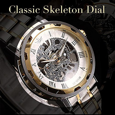 Men's Skeleton Stainless Steel Watch -White Gold Tone