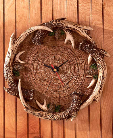 Antler Decor Clock And Bowl