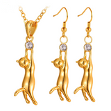 Cat Pendant Necklace Earrings Set