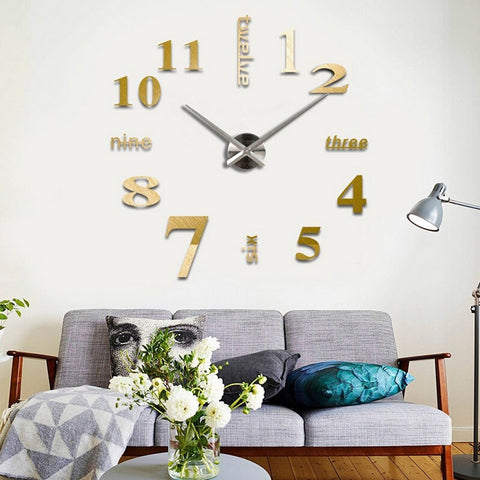 DIY Home Decor Wall Clock Mirror Surface for Home or Office Decor 5 Colors - marketplacefinds  - 1