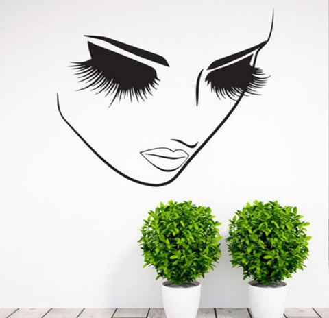 buy woman face eyes wall home salon decals at marketplacefinds for