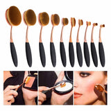 10 Pcs Oval Rose Gold Makeup Brushes - marketplacefinds  - 1