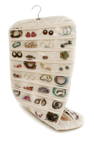 Jewelry Organizer Beige 80 Pocket Double Side Hanging