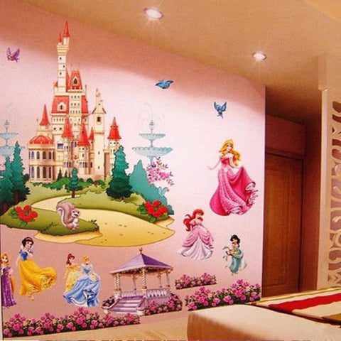 Princess Castle Wall Stickers Vinyl Decal Girls Kids Bedroom Art Large Colorful Home Decor - marketplacefinds  - 1