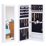 Wall Mounted Mirrored Jewelry Cabinet Armoire