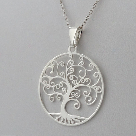 925 Sterling Silver Tree of Life Filigree Necklace