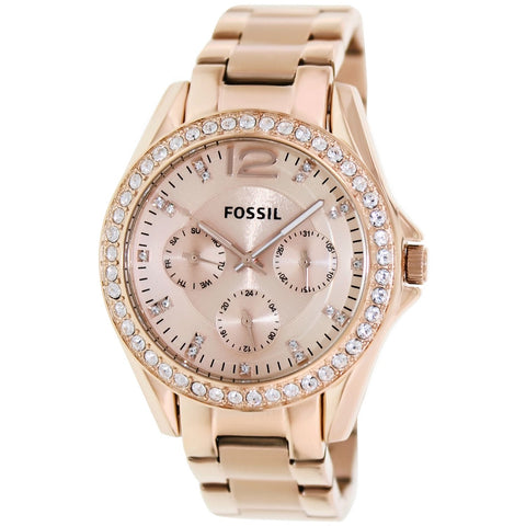 Women's Fossil Riley Rose-Gold Stainless-Steel Fashion Watch