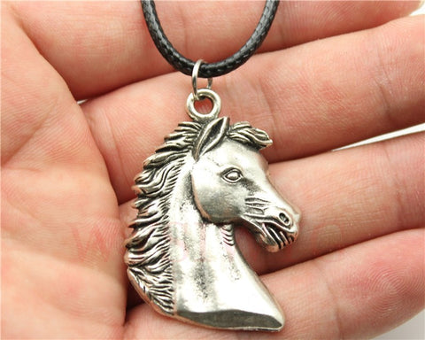 Silver Tone Horse Pendant Leather Necklace