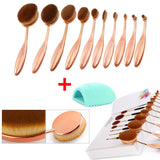 10 Pcs Toothbrush Makeup Brushes - Gold