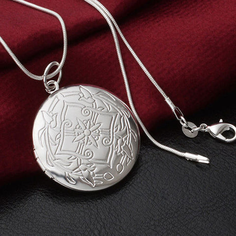 925 Sterling Silver Locket Necklace (Pendant + Chain)