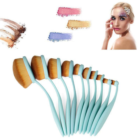 10 Pcs Toothbrush Makeup Brushes - Blue - marketplacefinds  - 1