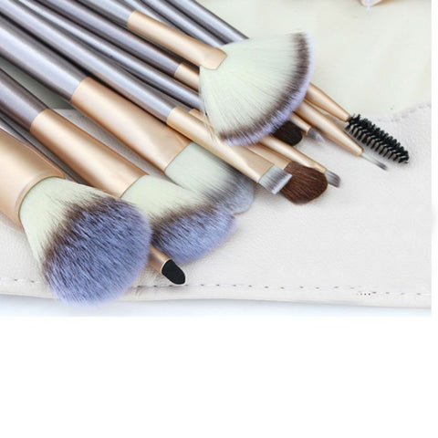 12 Pcs. Makeup Brush Set - Beige