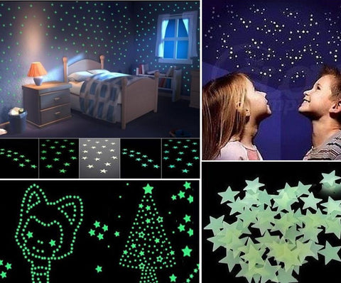 100Pcs Stars Wall Sticker Home Decor Glow In The Dark Decal Baby Kid room Home Decor - marketplacefinds  - 1