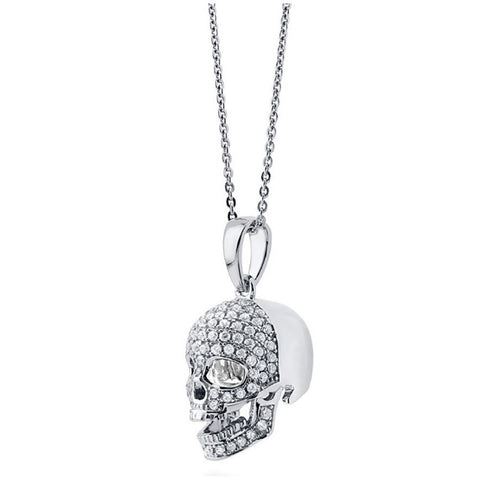 .925 Sterling Silver CZ Women's Skeleton Skull Pendant Necklace