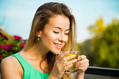 woman, green tea, drinking, healthy, happy