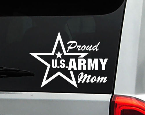 Proud U S Army Mom Car Decal Sticker With Star Free