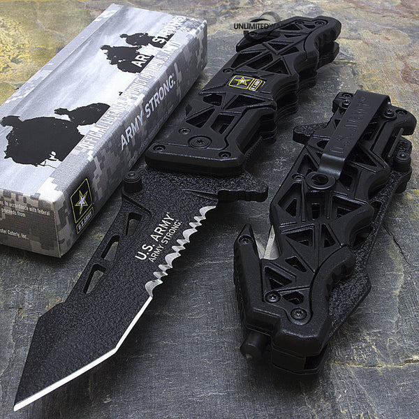 "9 inches - US ARMY ""LIBERATOR"" SPRING ASSISTED TACTICAL FOLDING KNIFE Blade"