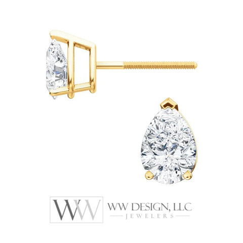 Genuine F+ VS DIAMOND Earring Studs Pear 6x4mm 0.66 tcw (each 0.33cts) Post w/ 14k Solid Gold (Yellow, Rose, White), Silver, Platinum Studs - WWDesignJewelers.com