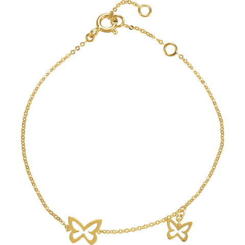 "Butterfly Charm Chain Bracelet 7"" - 14k Yellow Gold"