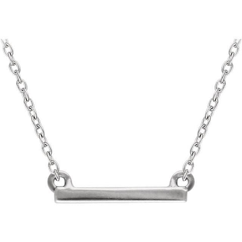 "Petite Straight Bar Necklace 16-18"" - 14k Gold (Y, W or R), or Sterling Silver"