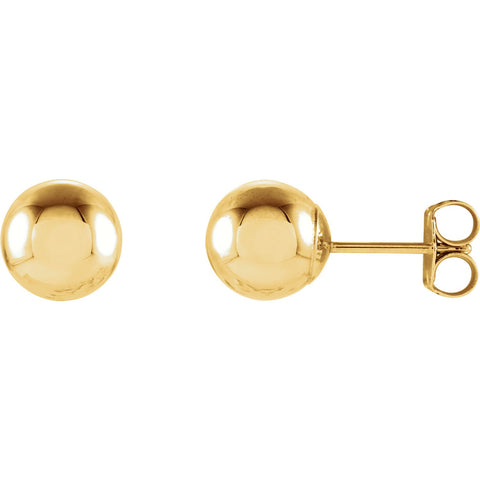 7mm Ball Earrings with Bright Finish - 14K Gold (Yellow or White)